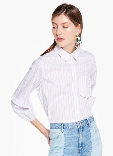 Kol Ve Cep Kenarı Fırfır Şeritli Gömlek-Twist